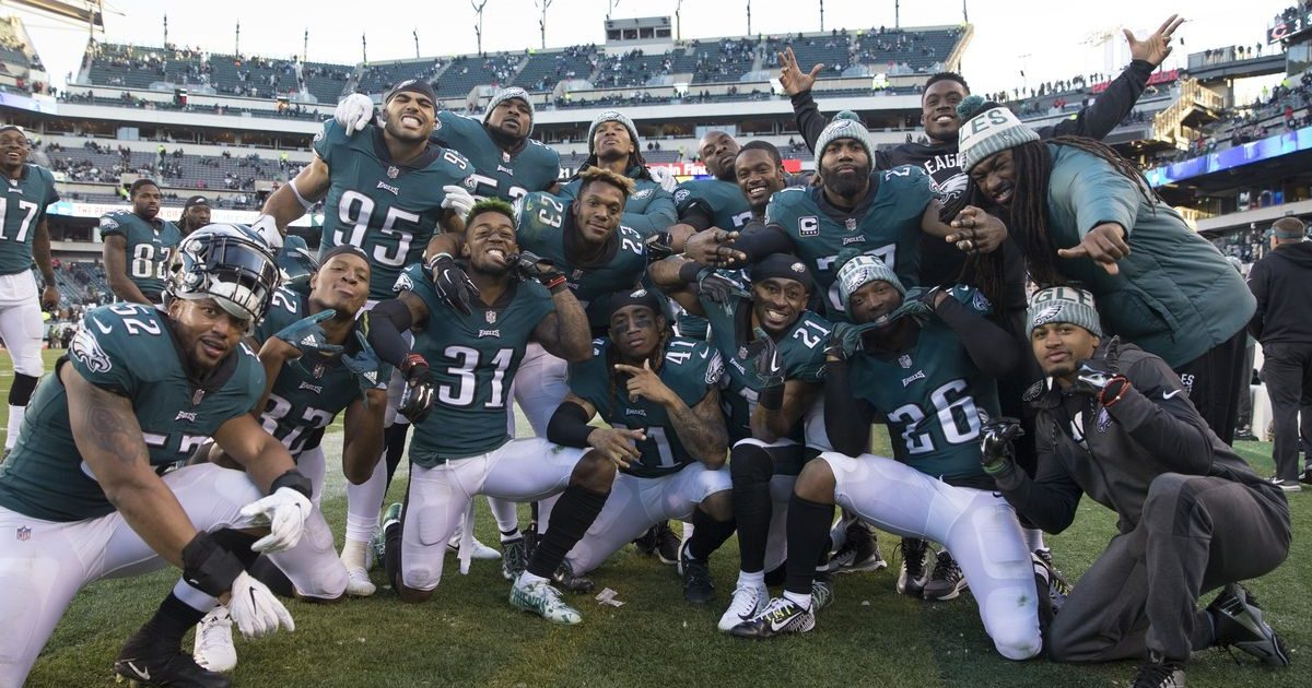 A partial-team photo of the 2017 Philadelphia Eagles. The players are obviously having fun.
