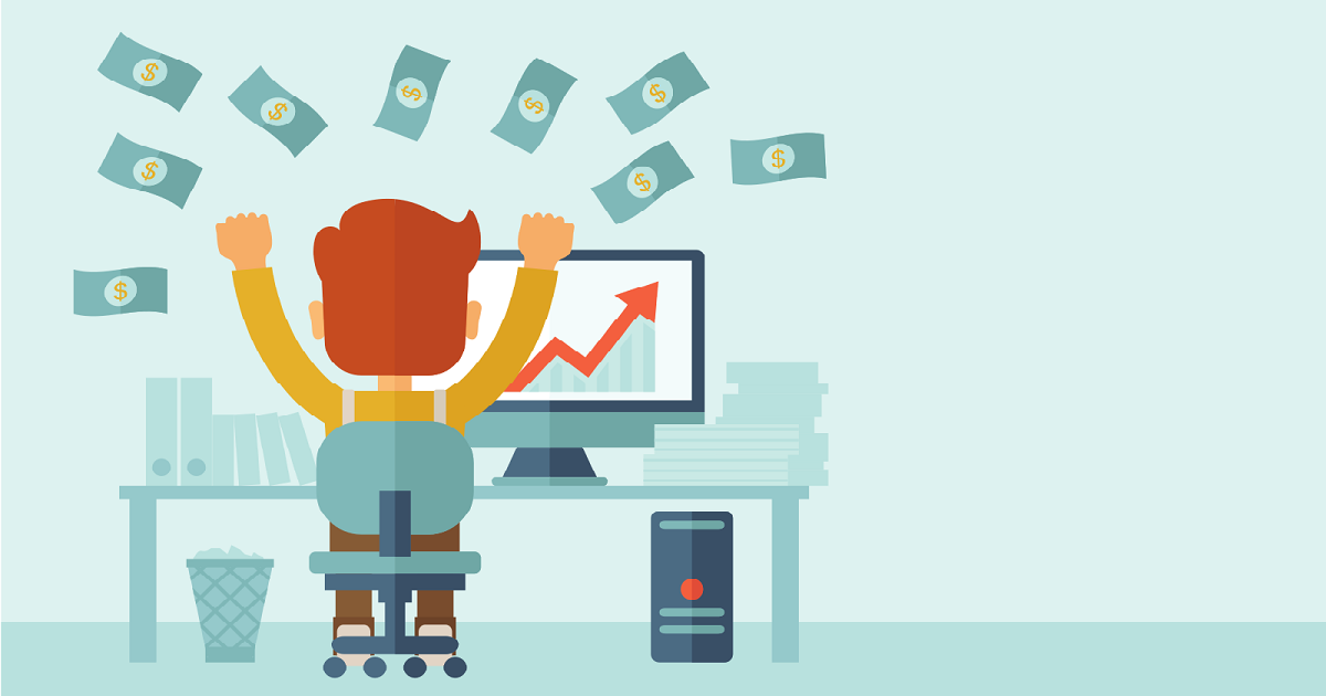 Cartoon-style graphic of an employee, sitting in front of his desk. His arms are raised triumphantly in the air and there is money showering down around him. In this context, this is a well paid employee!