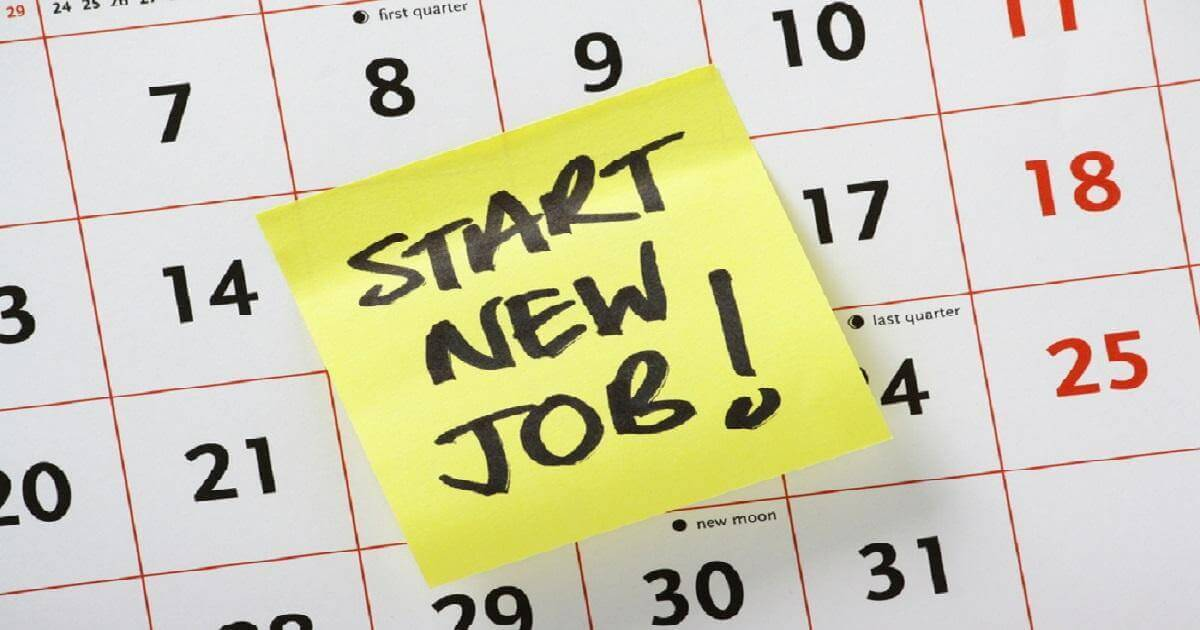 "Picture of a paper calendar with a big yellow sticky note that says ""Start new job!"""